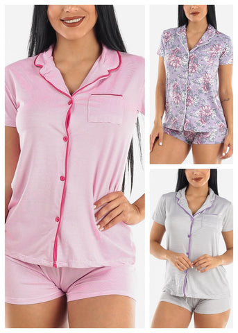 Image of Button Down PJ Sets (3 Pack G53)