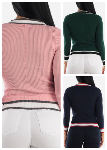 Ribbed Long Sleeve Sweaters (3 PACK)