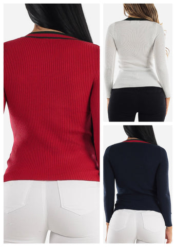 Long Sleeve Ribbed Sweaters (3 PACK)