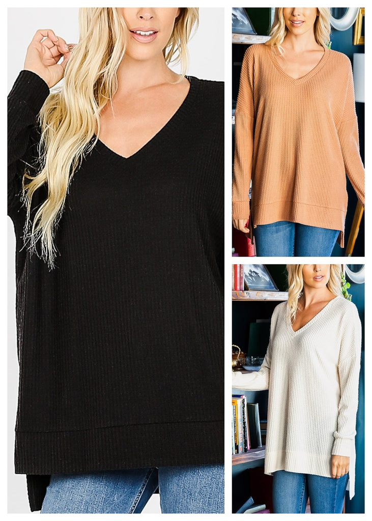 V-Neck Thermal Waffle Sweaters (3 PACK)