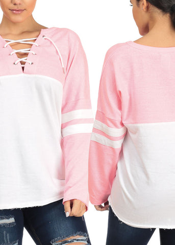 Long Sleeve Lace Up Sweatshirts (3 PACK G24)