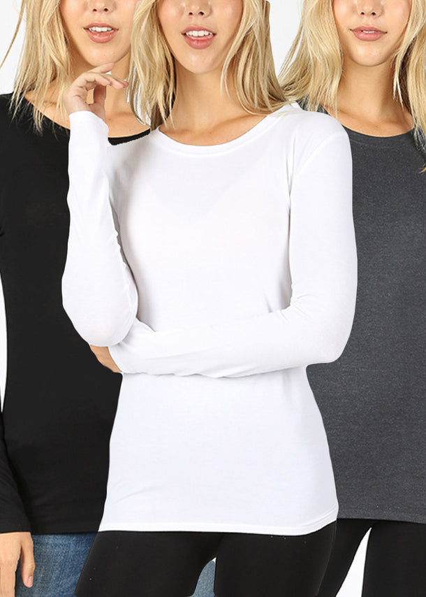 Long Sleeve Basic Tops (3 PACK)
