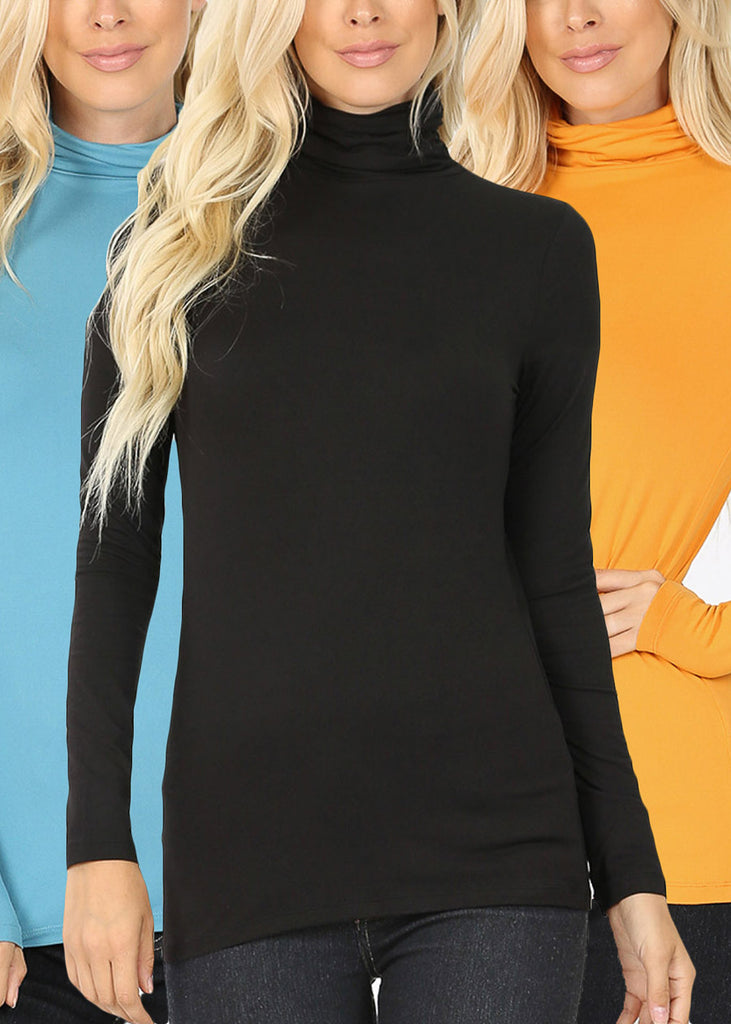 Mock Neck Basic Tops (3 PACK)