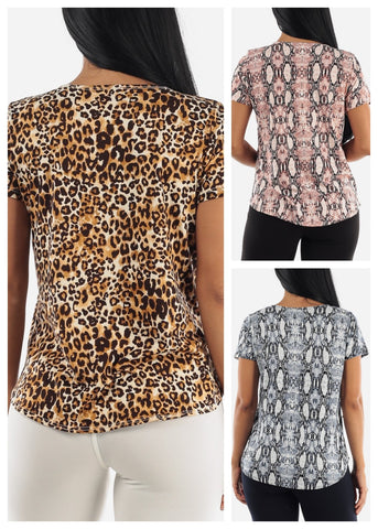 Image of Animal Print Tops (3 PACK G25)
