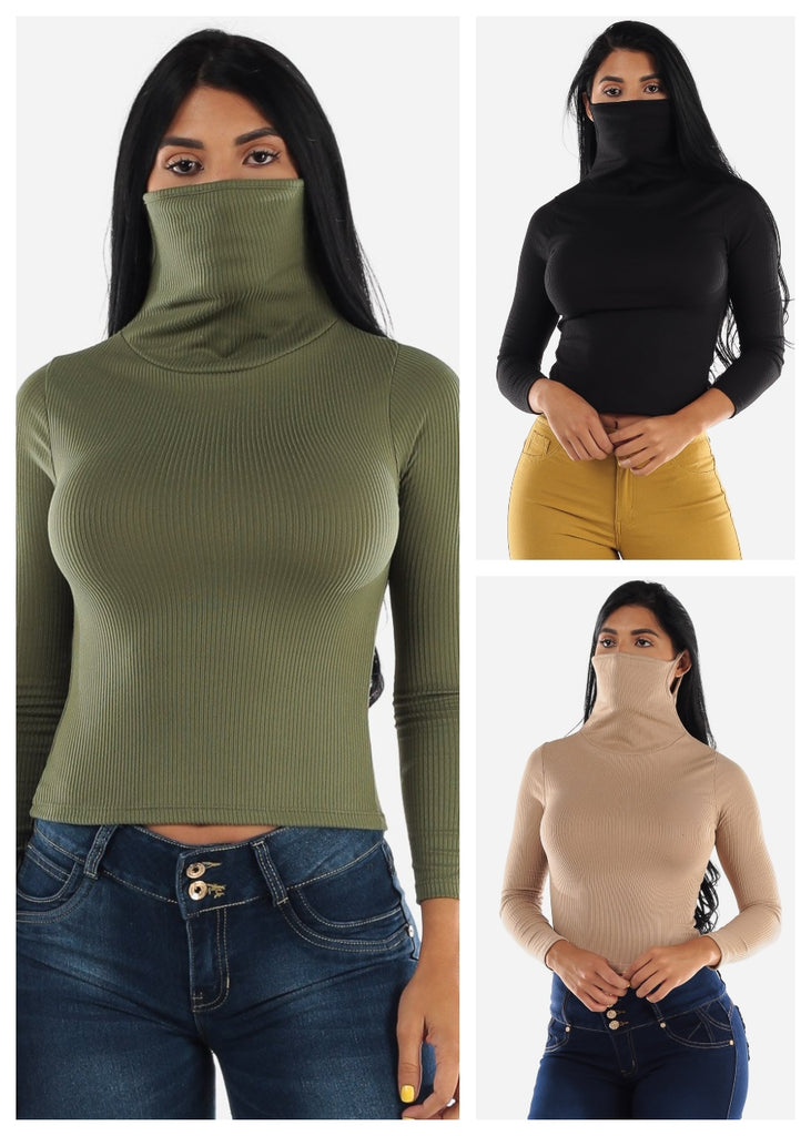 Long Sleeve Face Mask Tops (3 PACK)