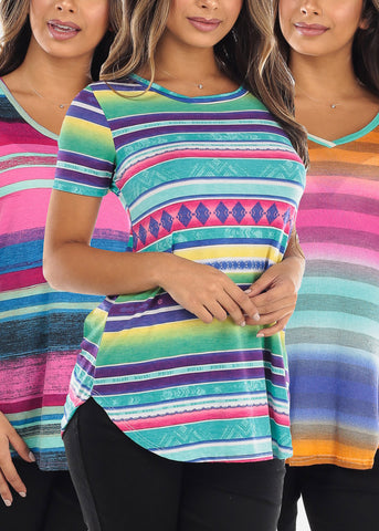 Striped Print Tops (3 PACK)