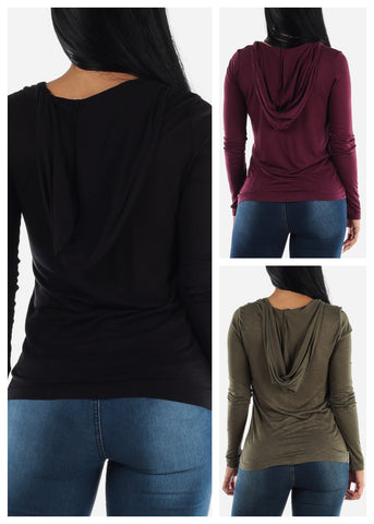 Image of Long Sleeve Hooded Tops (3 PACK)