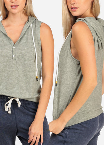 Women's Junior Ladies Casual Sport Sporty Sleeveless Comfy Stretchy Shirt Sleeveless Pullover Sweater Tops With Hood