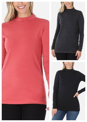 Cotton Mock Neck Tops (3 PACK)
