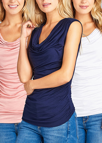 Casual Stretchy Sleeveless Cap Sleeve Solid Color Shirring Cowl Tops (3 PACK)