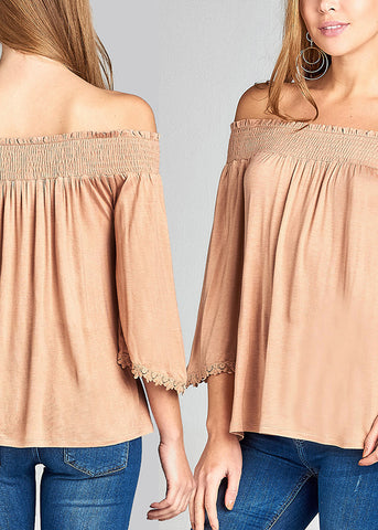 Image of Summer Stylish Stretchy Solid Color Off Shoulder Tops (3 PACK)