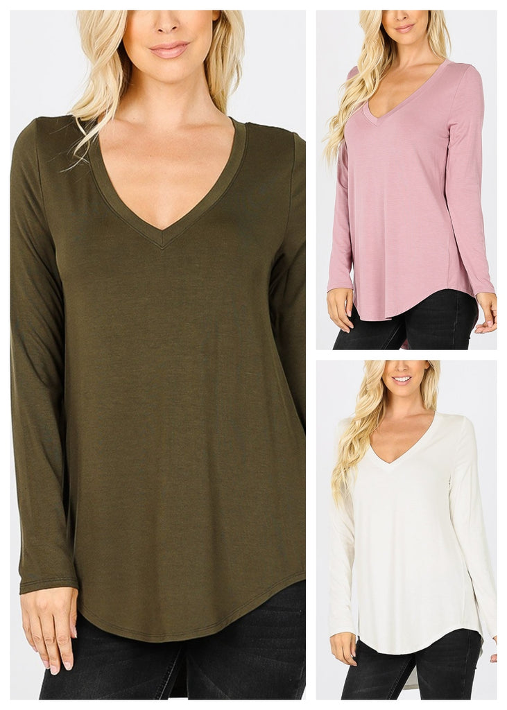 V-Neck Dolphin Hem Tunic Top (3 PACK)