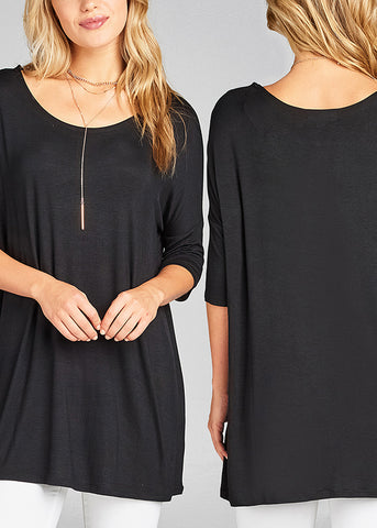 Essential Basic Stretchy Solid Tunic Long Tops (3 PACK)