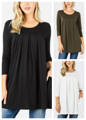 3/4 Sleeve Pleated Tunic Top (3 PACK)
