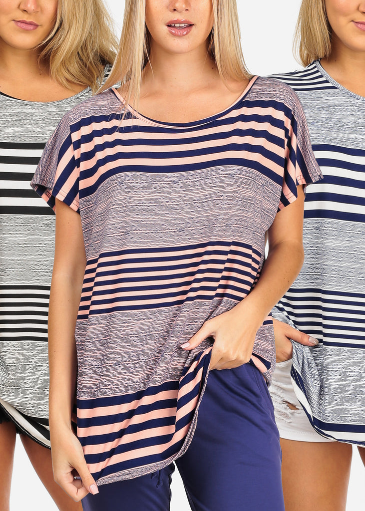 Women's Junior Ladies Stylish Everyday Wear Going Out Casual Short Sleeve Stripe Super Stretchy Tunic Tops Pack Deal Mega Sale