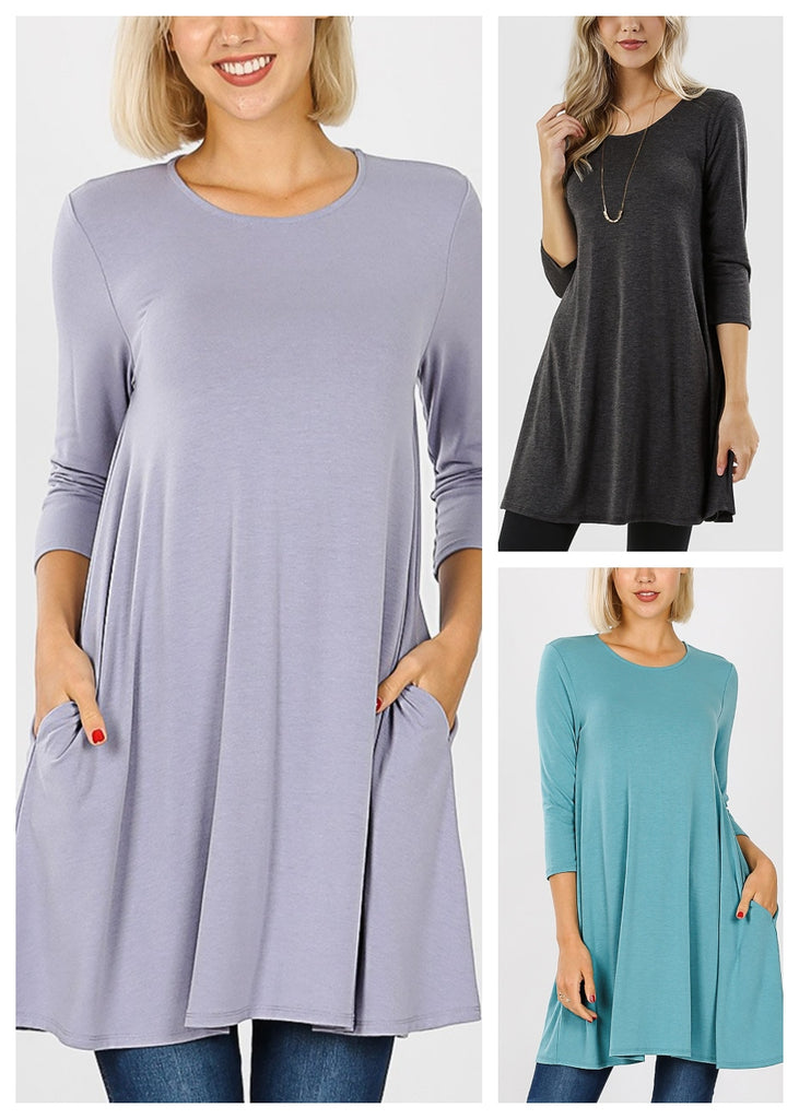 Round Neck Tunic Dress (3 PACK)