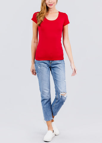 Scoop Neck Red T-Shirt