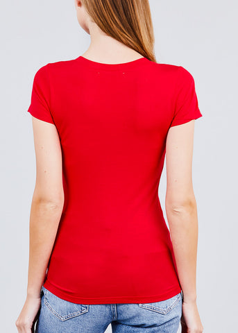 Scoop Neck T-Shirt (Red)