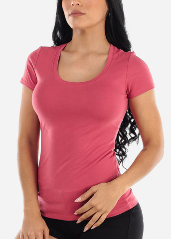 Image of Scoop Neck Basic T-Shirt (Deep Pink)