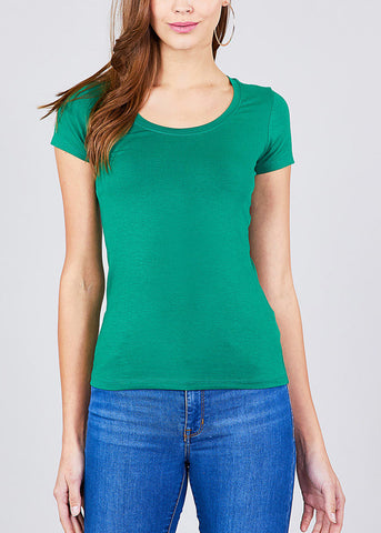 V-Neck Basic T-Shirt (Kelly Green)