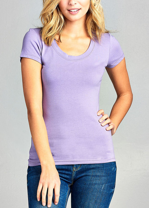 Scoop Neck basic T-Shirt (Lavender)