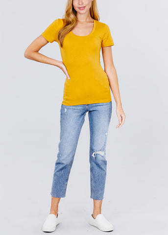 Scoop Neck Basic T-Shirt (Mustard)
