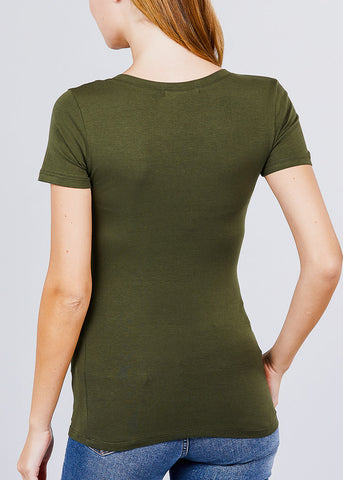Image of Scoop Neck Basic T-Shirt (Olive)
