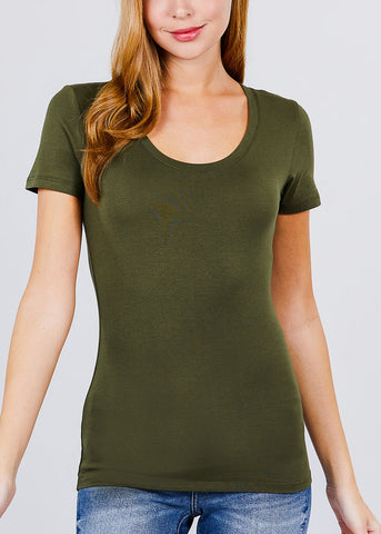 Scoop Neck Basic T-Shirt (Olive)