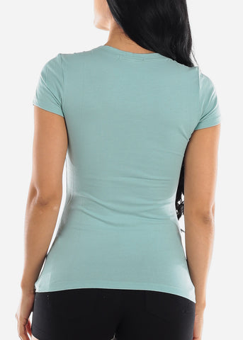 Scoop Neck Basic T-Shirt (Sage)