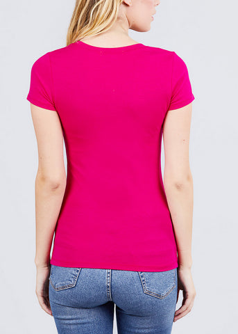 Scoop Neck basic T-Shirt (Spring Hot Pink)