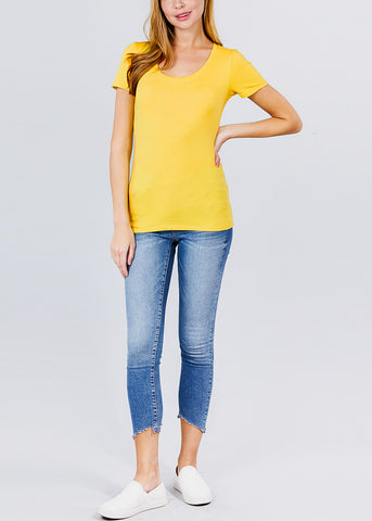 Image of Scoop Neck Yellow T-Shirt