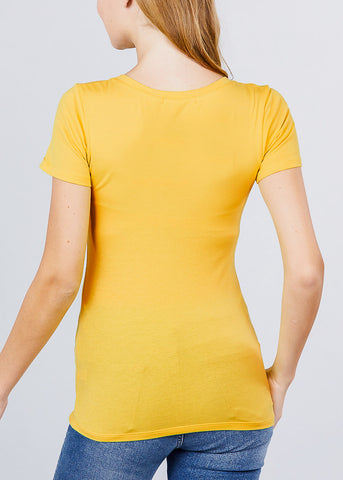 Image of Scoop Neck T-Shirt (Yellow)