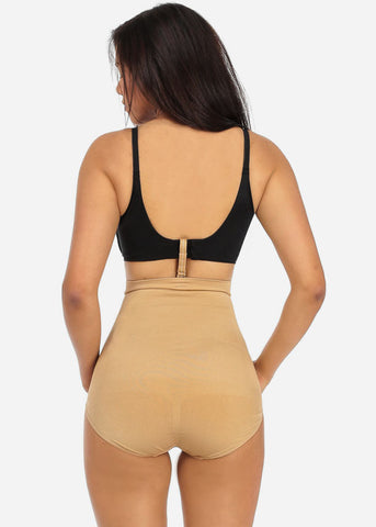 Nude High Waist Shapewear Panties with Bra Strap