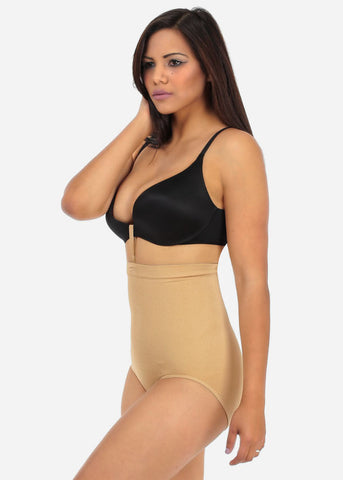 Image of Nude High Waist Shapewear Panties with Bra Strap