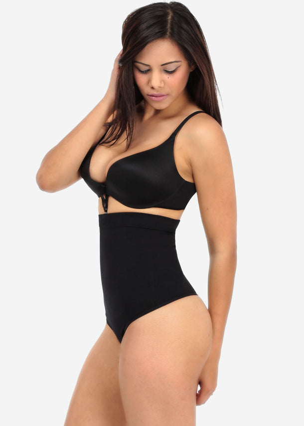 Black High Waist Shapewear Thong with Bra Strap