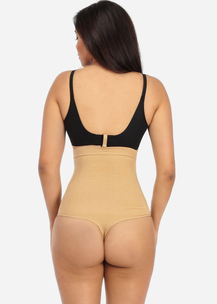 Nude High Waist Shapewear Thong with Bra Strap