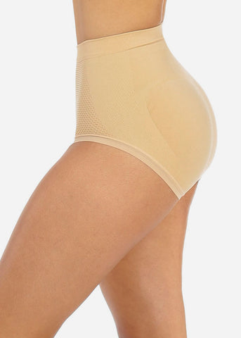 Cheap Nude High Waist Shapewear Bikini Underwear