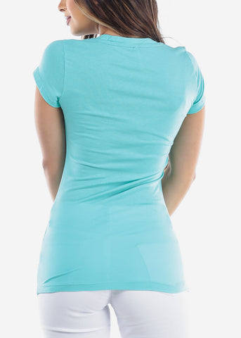 Image of Essential Basic Scoop Neck Basic Short Sleeve Stretchy Peach Aqua Top For Women Ladies Juniors