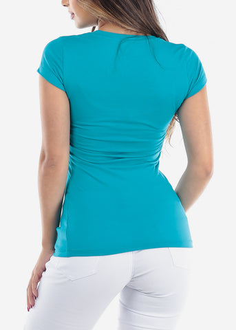 Image of Essential Basic Scoop Neck Basic Short Sleeve Stretchy Turquoise Top For Women Ladies Juniors