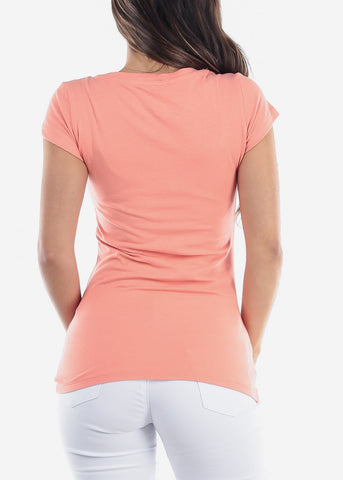 Essential Basic Scoop Neck Basic Short Sleeve Stretchy Peach Top For Women Ladies Juniors