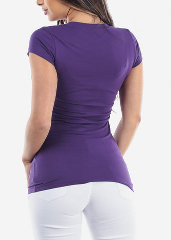 Image of Essential Basic Scoop Neck Basic Short Sleeve Stretchy Peach Purple Top For Women Ladies Juniors