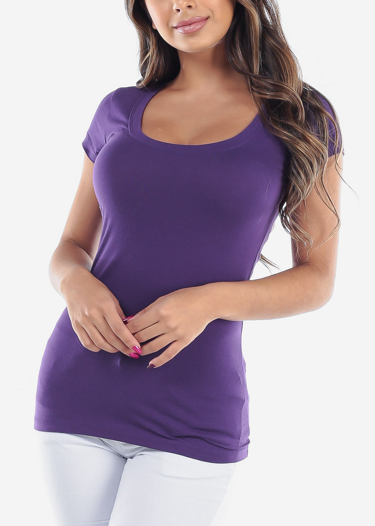 Essential Basic Scoop Neck Basic Short Sleeve Stretchy Peach Purple Top For Women Ladies Juniors