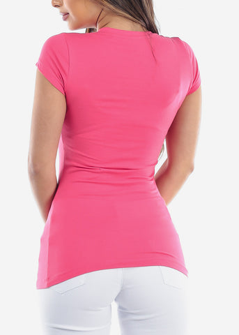 Essential Basic Scoop Neck Basic Short Sleeve Stretchy Pink Raspberry Top For Women Ladies Juniors