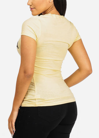 Image of Scoop Neck Basic T-Shirt (Light Yellow)