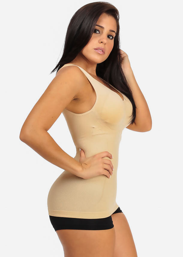 Cheap Padded Bra Beige Shapewear Top