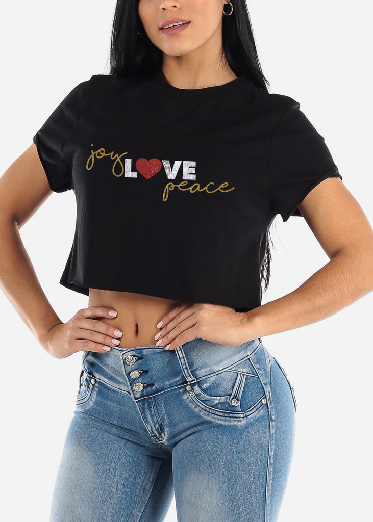 "Christmas Graphic Tee ""Joy Love Peace"""