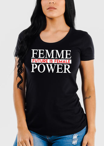 "Black Graphic Crew Neck Tee ""Femme"""