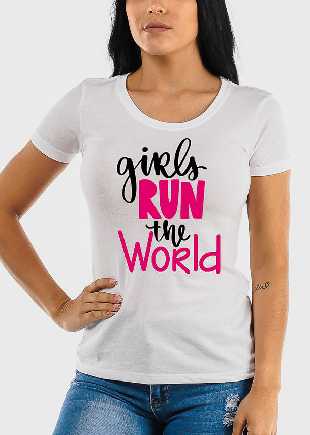 "White Graphic Tee ""Girls Run The World"""