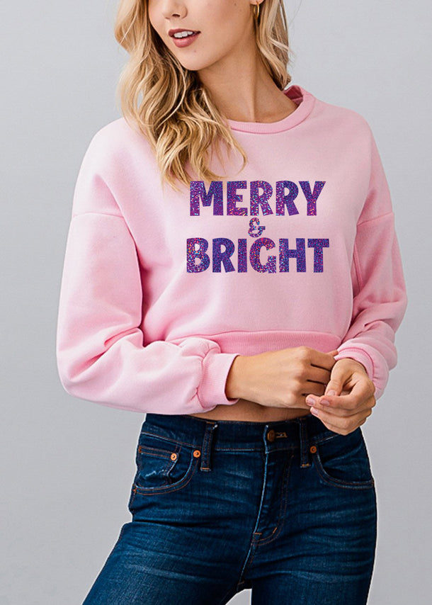 "Christmas Graphic Pullover ""Merry & Bright"""