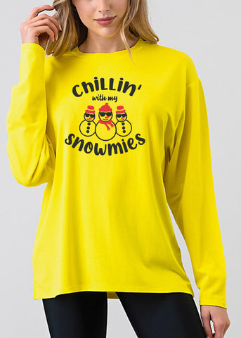 "Christmas Graphic Top ""Chillin With My Snowmies"""""